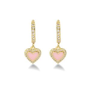 Κρεμαστά σκουλαρίκια χρυσά, με καρδούλα με ροζ πέτρα και στρας